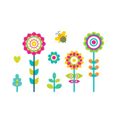 Abstract spring fowers blooming buds simple shapes vector