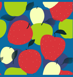 apple fruits seamless pattern red green and vector image