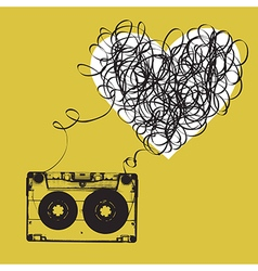 Audiocassette with tangled tape Haert shaped vector image
