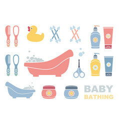baby bathing and care icons vector image