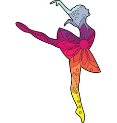 Ballet dancer with transition colors vector