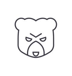 Bear head sign line icon sign vector