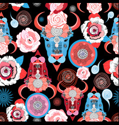 Beautiful pattern portraits bulls vector
