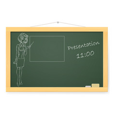 Blackboard with business woman and presentations vector