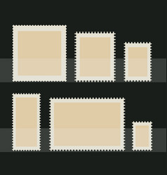blank postage stamp set toothed border stickers vector image