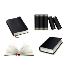 Book collection black vector image