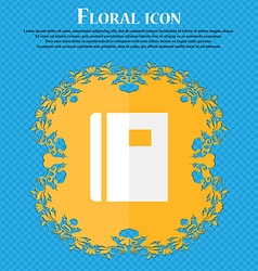 Book Floral flat design on a blue abstract vector image