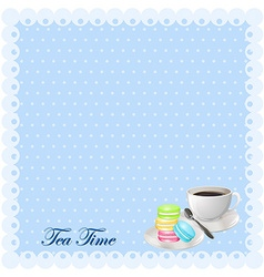 Border design with tea and macaron vector image