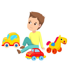 Boy with toys sitting on floor cars and horse vector
