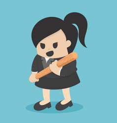business woman holding baseball bat vector image