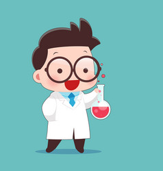 Cartoon scientist with test tube and science vector