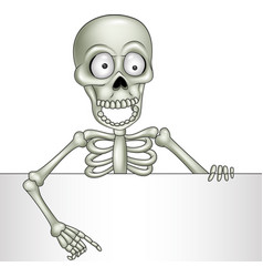 cartoon skeleton holding blank sign vector image