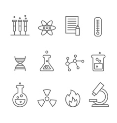 Chemistry science and bio technology line icons vector