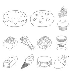 chocolate dessert outline icons in set collection vector image