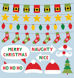 Christmas decoration and party signs vector
