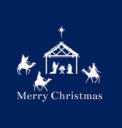 christmas scene jesus in manger vector image