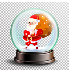 christmas snowglobe cute santa claus with vector image