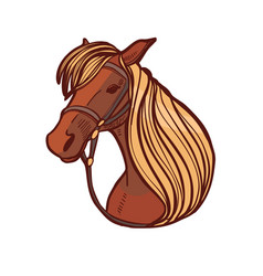 colored horse in hand drawn style vector image