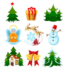 colored xmas icons vector image