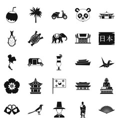 countries in asia icons set simple style vector image