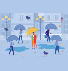 couple romantic date in bustle and bad weather vector image