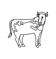 Cow animal farm agriculture side view vector
