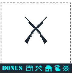 Crossed shotguns hunting rifles icon flat vector