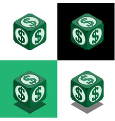 Cube with dollar logo in isometric view vector