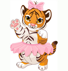Cute playful tiger cub ballerina vector