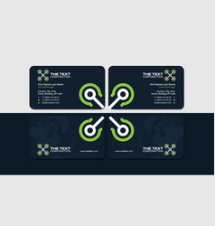 Dark business card with green unmanned vehicle vector