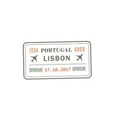 departure visa to portugal lisbon vector image