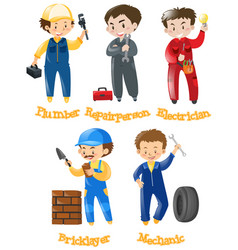 Different kinds of construction jobs vector