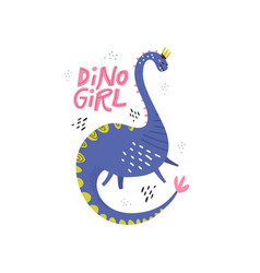 Dino girl color flat hand drawn character vector