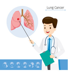 Doctor describes about cause to lung cancer vector
