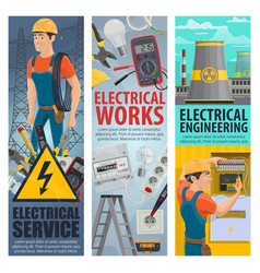 Electrical engineering electrician service banners vector