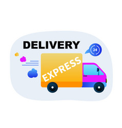fast express delivery goods by truck vector image