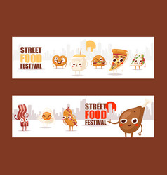 fast food funny cartoon characters vector image