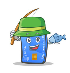 Fishing credit card character cartoon vector