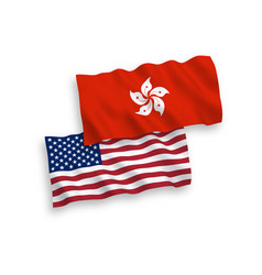 Flags hong kong and america on a white vector