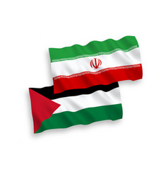 Flags palestine and iran on a white background vector