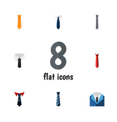 Flat icon necktie set of collar textile style vector