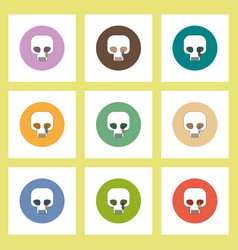 Flat icons halloween set of skull concept on vector