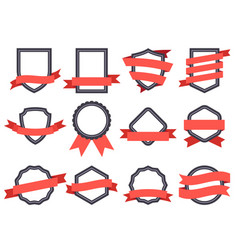 flat ribbon banner badge genuine banners frames vector image