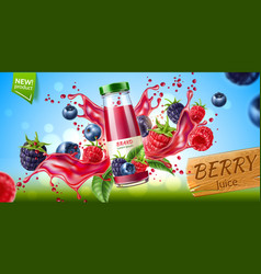 forest berry mix juicy splash motion vector image