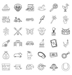 Fun icons set outline style vector