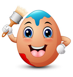 Funny brown easter egg holding a brush vector