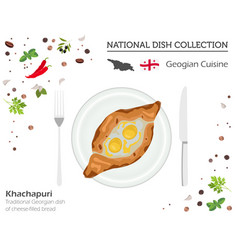 Georgian cuisine asian national dish collection vector