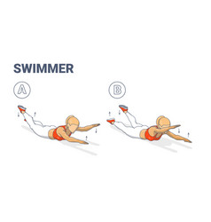 Girl doing swimmers exercise fitness home workout vector