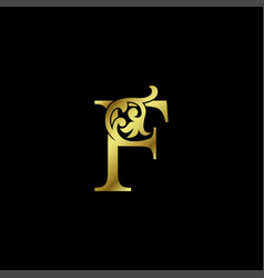 Gold luxury letter f ornament logo alphabet vector