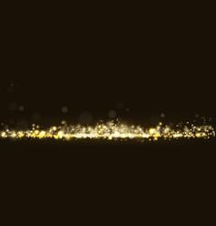 Golden glittering light bokeh shining vector